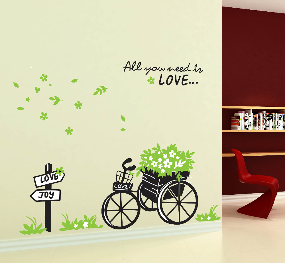Diy green flora bike romantic you need love home decals wall diy green flora bike romantic you need love home decals wall stickers vinyl decor mural art girls room decoration stickers in wall stickers from home amipublicfo Choice Image