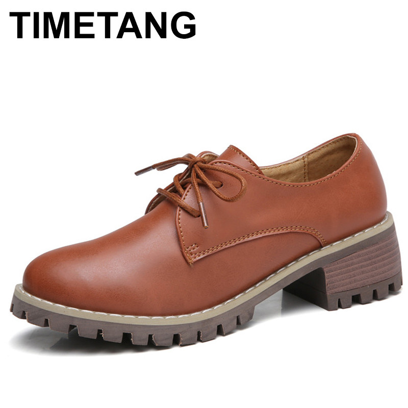 TIMETANG Women Oxford Shoes Med Heel Leather Laces Round Toe Ladies Low Top Spring Shoes Women Casual Footwear 2018 New Autumn e lov women casual walking shoes graffiti aries horoscope canvas shoe low top flat oxford shoes for couples lovers