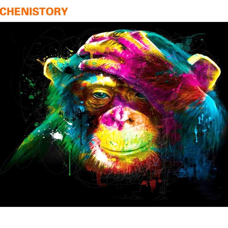 CHENISTORY mono pintura de DIY por números de animales pintura caligrafía acrílico pintura por números para la decoración de 40x50 cm obras de arte