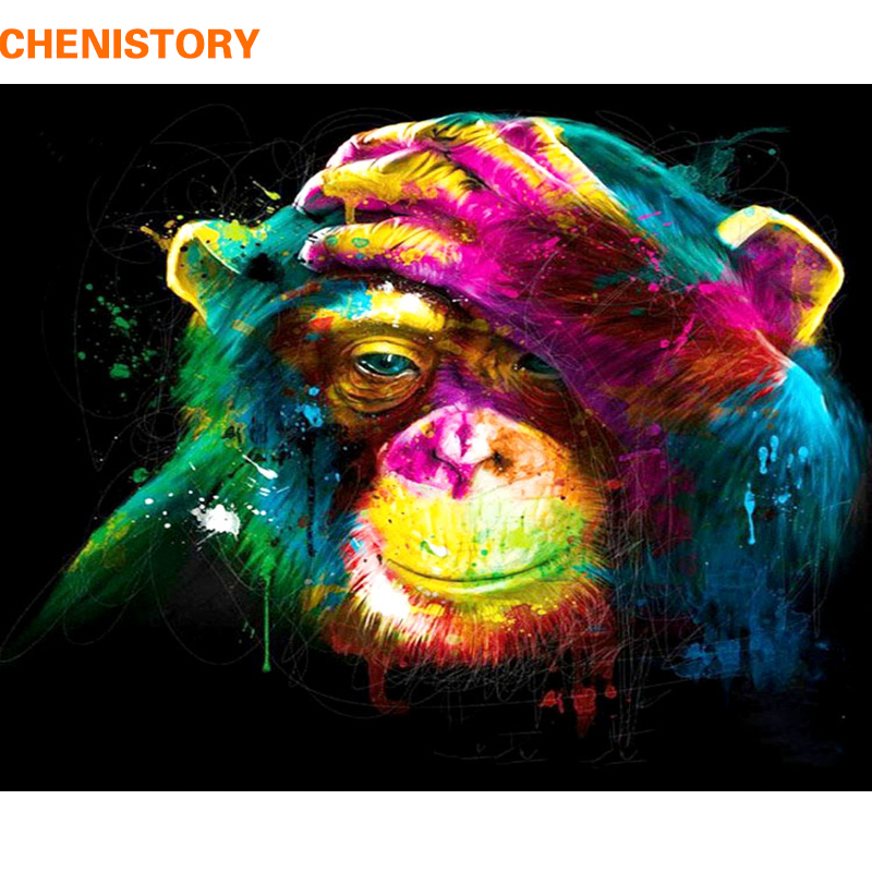 Chenistory Monkey Diy Painting By Numbers Animals Painting Calligraphy Acrylic Paint By Numbers For Home Decor 40x50cm Artworks