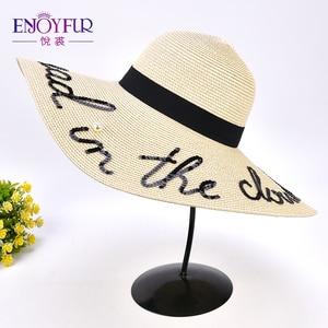 Image 4 - ENJOYFUR moda mektubu inci güneş şapkası geniş ağız yaz plaj şapkası 2018 yeni varış kaliteli hasır şapka