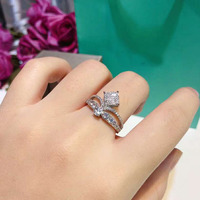 2pcs/lot Silver Double Rings Set Engagement Woman Cubic Zirconia Ring For Women Ladies Lover Party Wedding Jewelry