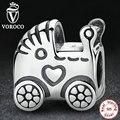 VOROCO Auténtica Plata de Ley 925 Del Carro de Bebé Del Encanto cupieron Pandora Original Pulsera de Perlas y Joyería Ingredientes S308