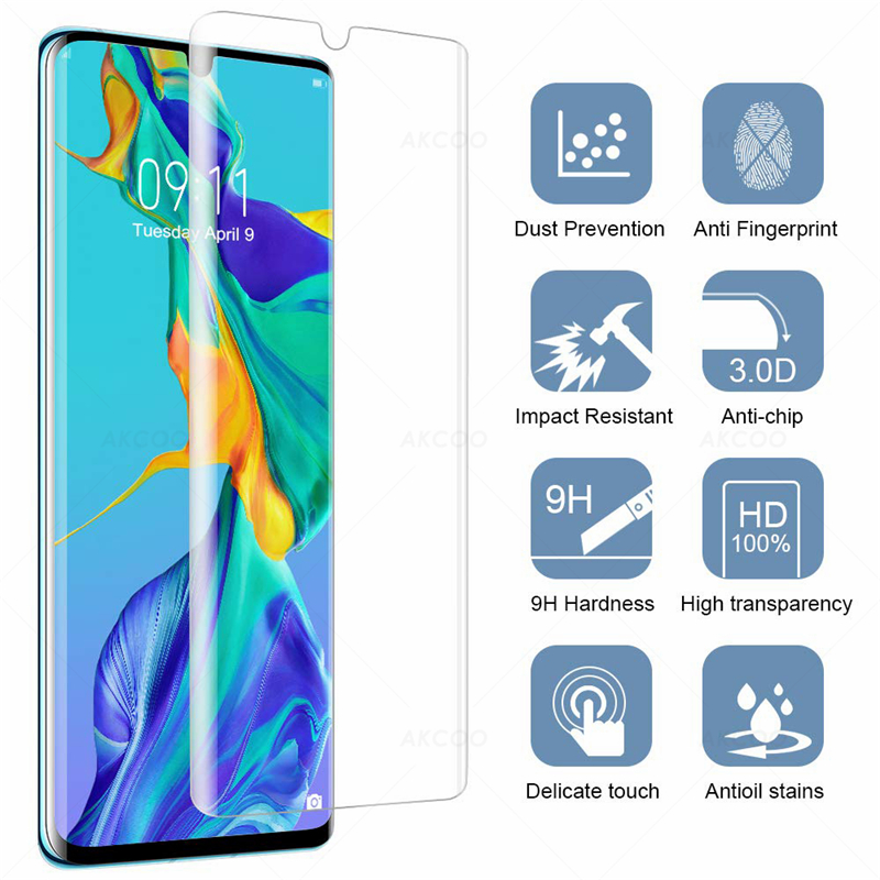Image 2 - Akcoo P30 pro screen protector support fingerprint sensor glass for Huawei P30  case friendly tempered glass for p30 lite film-in Phone Screen Protectors from Cellphones & Telecommunications