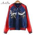 Artsu Casual Women Animal Embroidery Bomber Jacket Coats Streetwear Jackets Tops Slim Coat Stitching Outerwear Sukajan ASCO10031