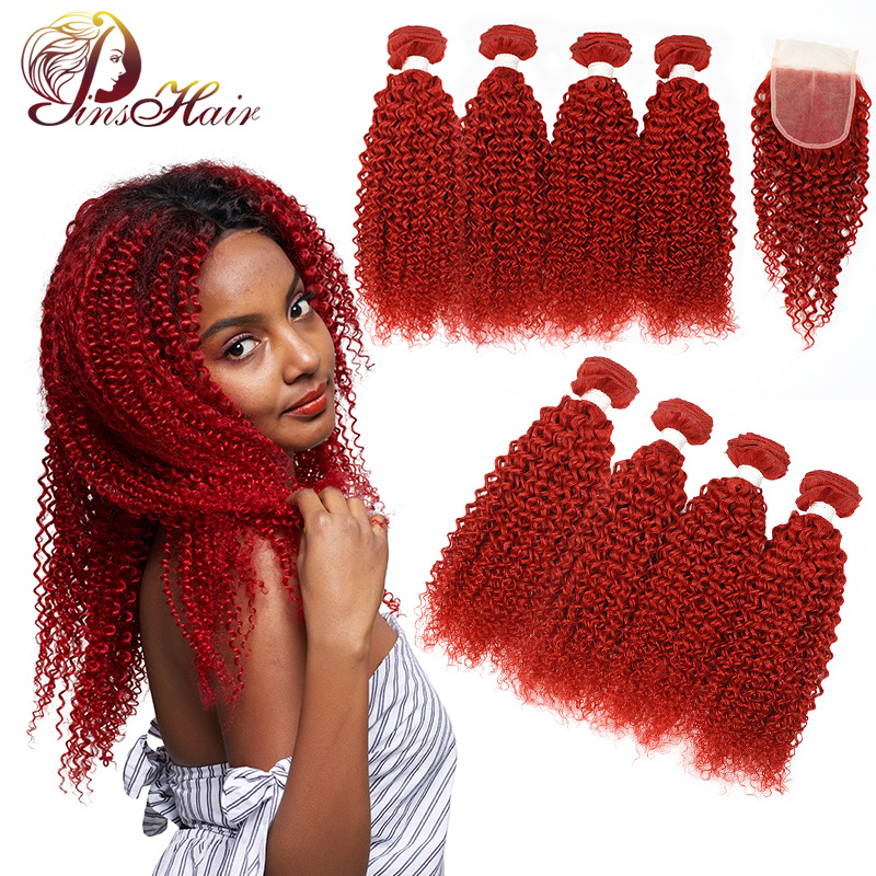 Colored Red Kinky Curly Peruvian Human Hair Weave Bundles With Closure 4 Burgundy Bundles With Closure Non Remy Hair Extension