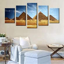 Egyptian Pyramids Print Canvas Painting Ancient Egypt Giza Pyramids Poster for Home Decor Historic Beautiful Landmark 5 Panels pyramids