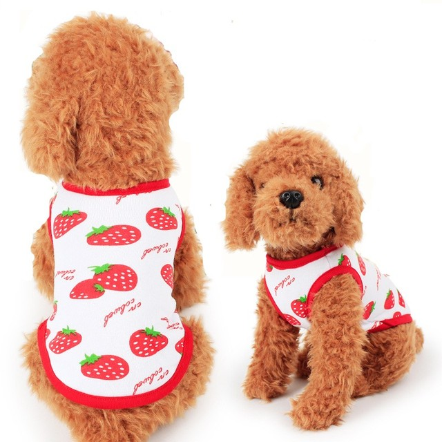1787b5bea Cute Strawberries Clothes For Dog Summer Vest Cheap Puppy Cat T-Shirt  Cotton Small Dog Costumes Hot Sell Pet Clothing Apparel