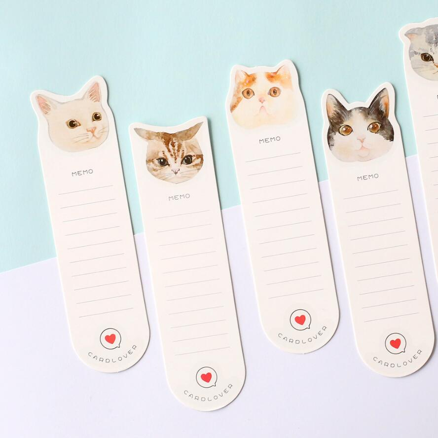 30 pcs/set Cute Cat bookmark Cute paper book mark Memo note for books Stationery office School supply marcadores de livro 7018 2 pcs pack various lovely cat magnet bookmark paper clip school office supply escolar papelaria gift stationery