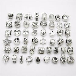 Mix beads 50pcs/lot Vintage big hole Loose pendant fit Pandora Charms Bracelet DIY Jewelry Making Free bracelet