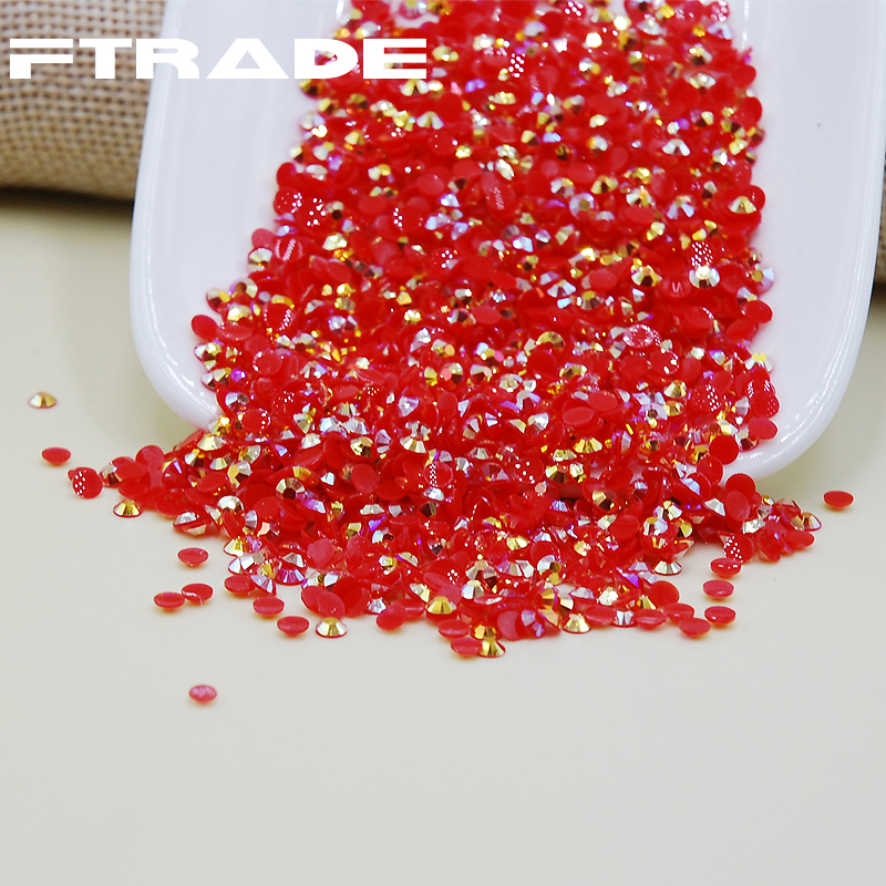 Red Jelly AB/Light Siam Jelly AB Color 3D Resin 3D Nail Art Rhinestone Flat Back Non Hotfix Strass Nails DIY Decoration
