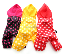 Pet Polka dot canine raincoat Jumpsuit pet Coat Jacket Waterproof garments,5 sizes three colors
