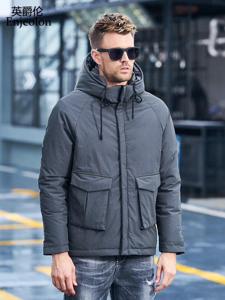 Enjeolon бренд утолщенный Зимний пуховик мужской легкий пуховик с капюшоном пальто для мужчин однотонная парка пальто 3XL пуховик мужской YR913