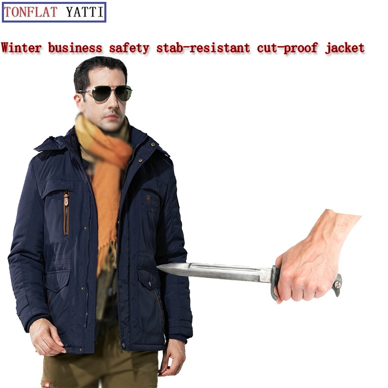 Stab-Resistant Hacking Vest Winter Men Casual Warm Soft Stealth Safety Clothing FBI Self-Defense Self-defense Anti-Hacking Jacke