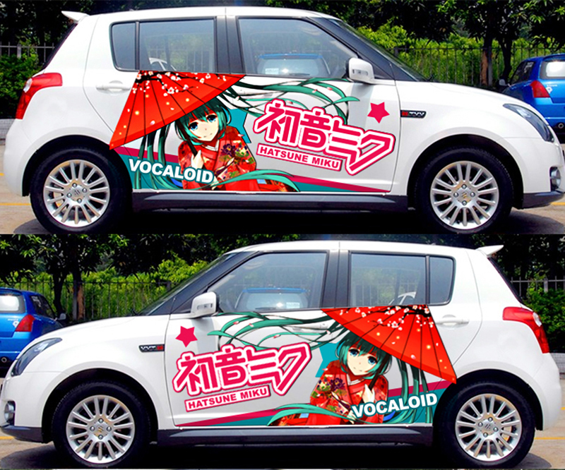 DIY Japanese Cartoon Car <font><b>Stickers</b></font> Hatsune Miku Dimension Animation Drift <font><b>Sticker</b></font> Protection Film Car Funny Camouflage Decals