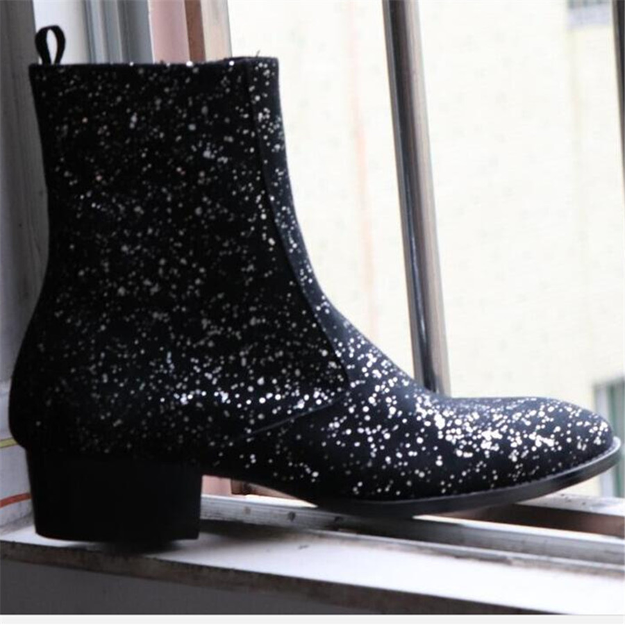 New Suede Sequin genuine leather Pointed Toe Party Wedding Stage Luxury Boots Handsome Wedge MEN Handmade BootsNew Suede Sequin genuine leather Pointed Toe Party Wedding Stage Luxury Boots Handsome Wedge MEN Handmade Boots