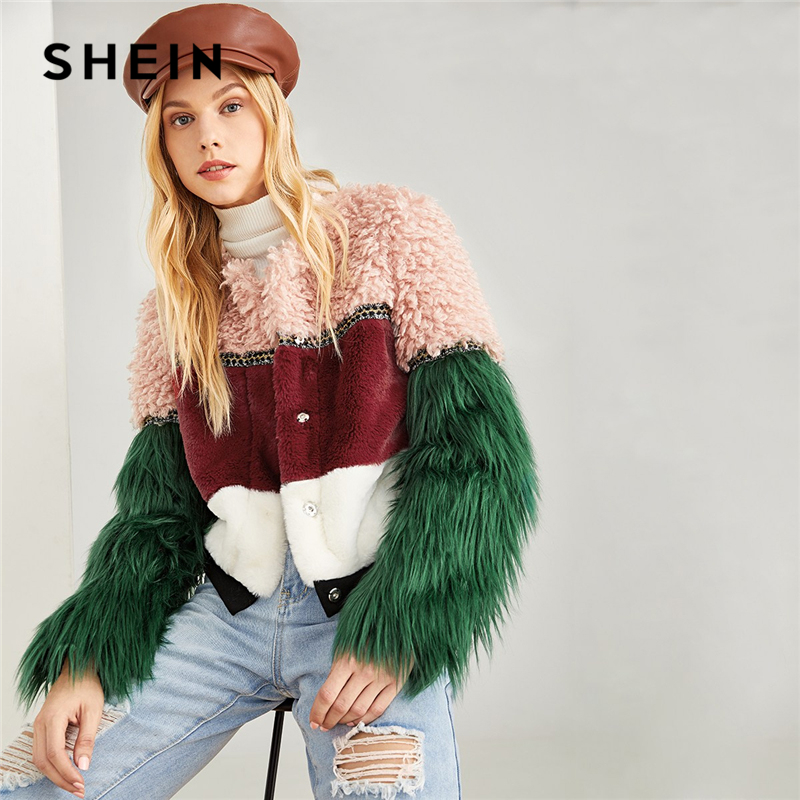 SHEIN Multicolor Color Block Faux Fur Coat Casual Highstreet Patchwork Long Sleeve Outerwear Women Winter Modern Lady Coats