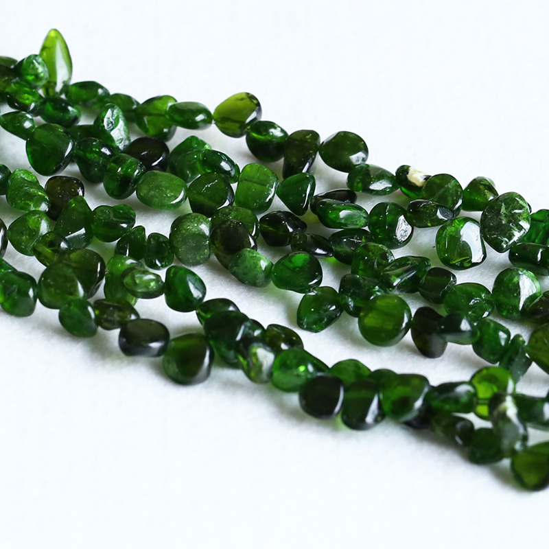 Natural Genuine Clear Dark Green Chrome Diopside Nugget Free Form Beads 7x9mm 15 05325