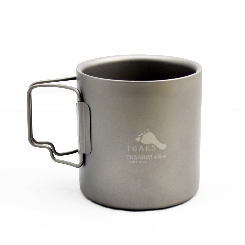 TOAKS TITANIUM Anti-scald DOUBLE WALL CUP Outdoor Camping Folding Mug 450ml стоимость