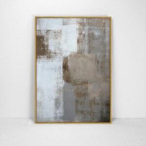 Image 5 - HAOCHU Drieluik Nordic Wit Zwart Grijs Vierkante Foto Moderne Poster Handgeschilderde Canvas Schilderij Wall Art voor Woonkamer Decor