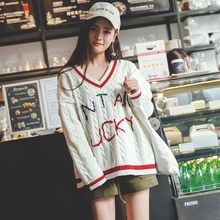 Winter women sweaters V-Neck Pullover Size loose female 2017 new large letter spring sweater
