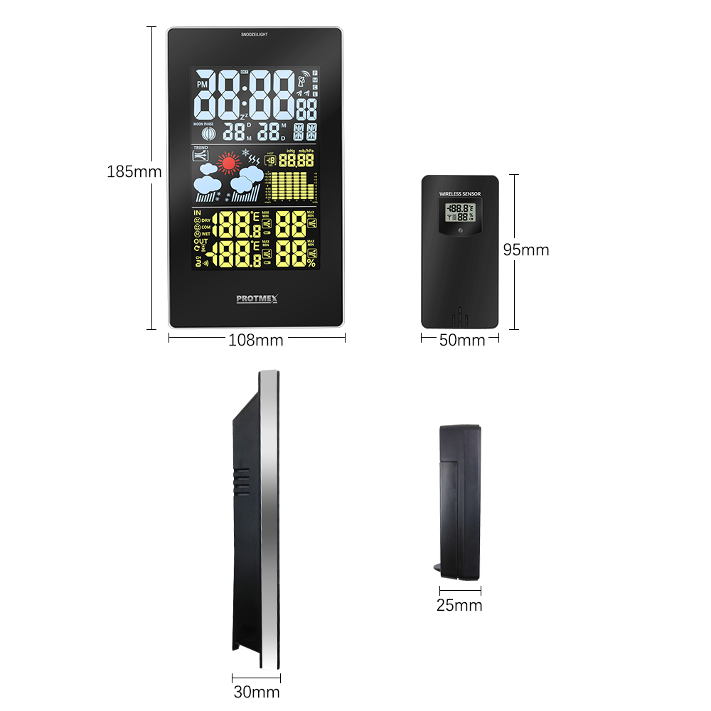 Image 3 - Wireless Weather Station, Protmex PT3352C Digital Weather  Forecast Station Indoor Outdoor Thermometer HygrometerTemperature  Instruments