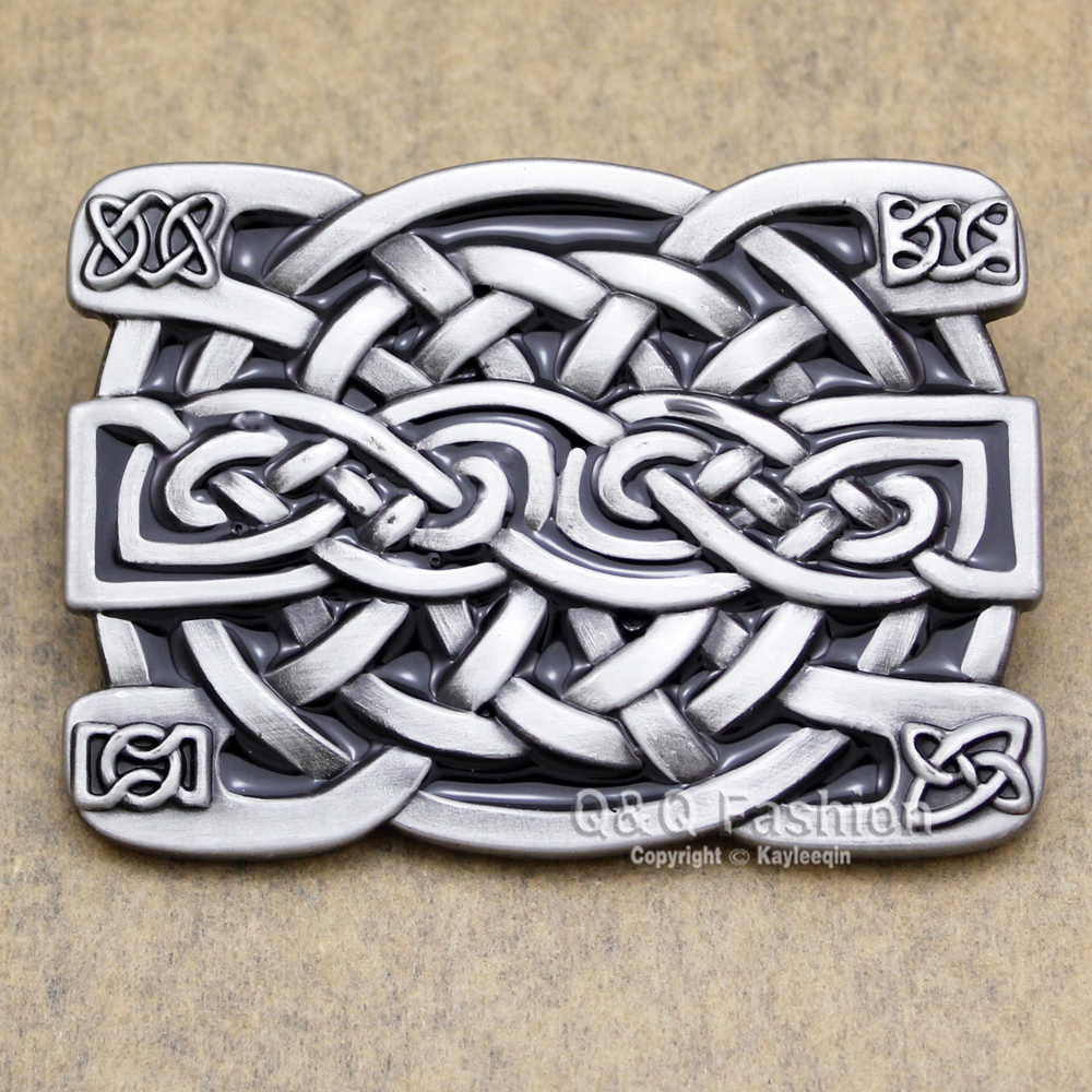 Celtic Irish Trinity Cross Knot Scottish Kilt Cowboy Rodeo Silver Belt Buckle Exchange Acessories