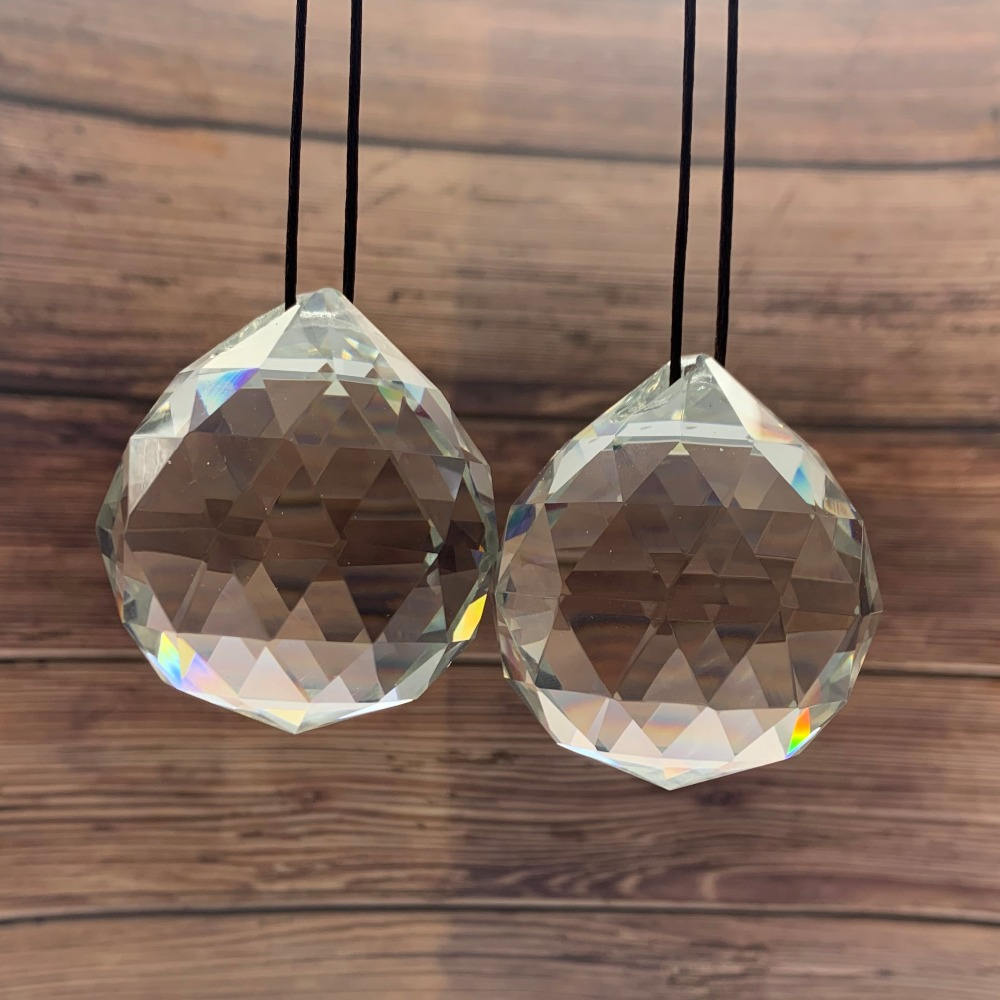 50MM Feng Shui Hanging Facted Crystal Ball Prisms Glass Chandelier Parts Suncatcher Pendant DIY Hanging Ornament
