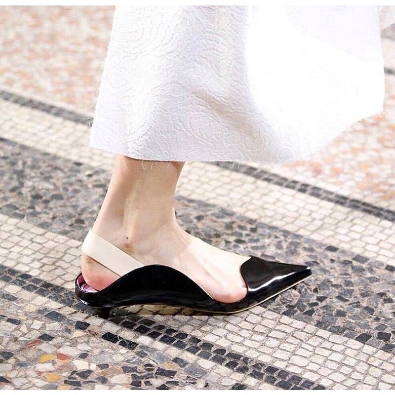 Tendance Femme Escarpins À Talon Bas Femmes Chaussures Bout Pointu Glisser Sur des Chaussures En Cuir Sapato Feminino Slingback Chaussures Marque Star Piste chaussure