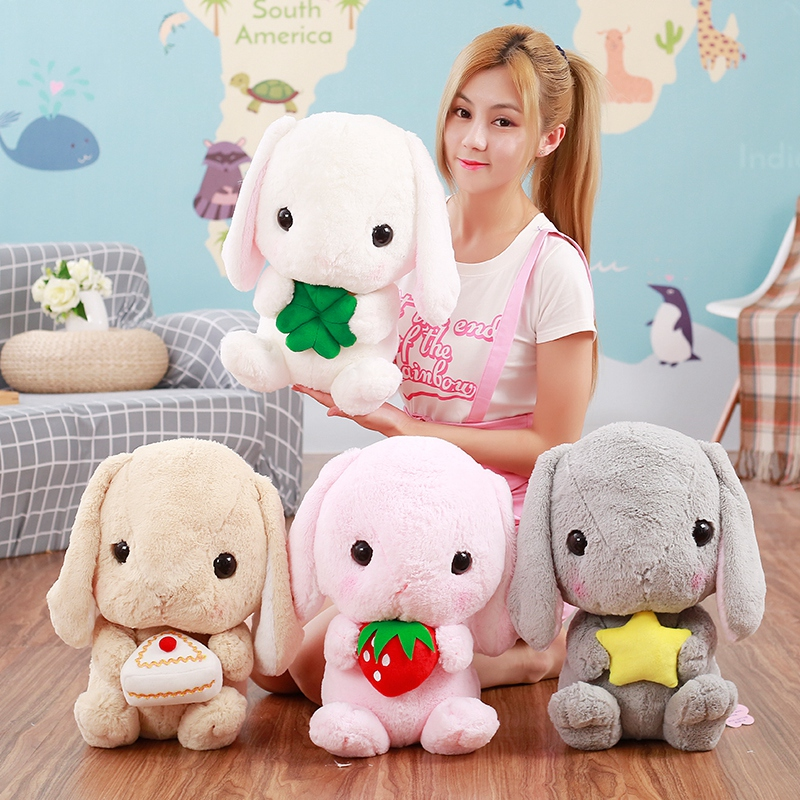 1pc 45cm Kawai Long Ears Rabbit Plush Dolls Amuse Lolita Loppy Toy Kids Love Doll Stuffed Soft Pillow Valentine's Gift for Girls 1pc 16cm mini kawaii animal plush toy cute rabbit owl raccoon panda chicken dolls with foam partical kids gift wedding dolls