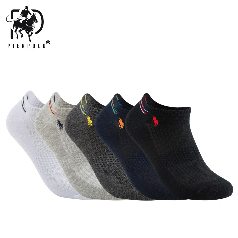 5 pairs/lot summer Mesh Breathable Cotton   Socks   For Men Black White Pure Color Sport Men   Socks   Thin Style Sokken PIER POLO 2019