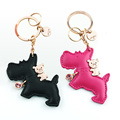 Milesi-brand leather keychain puppy, original designed dog keychain, car bag pendant gift for lover, couple keyring K0163