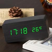 나무 LED 알람 시계 디스플레이 날짜 + 시간 + 섭씨/화씨 온도 사운드 제어 기능 테이블 데스크탑 시계