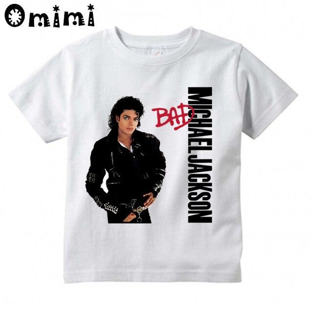 9f8520454 Kids Rock N Roll Star Michael Jackson Bad Design T-Shirts Music Children's  Tops Boys/Girls Rock T Shirt