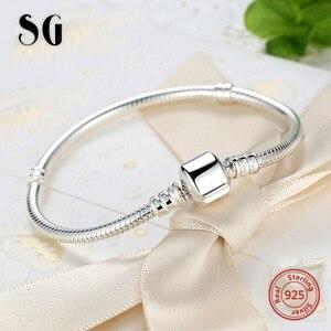 Image 3 - Sıcak satış SG 20cm yılan zincir gerçek 925 ayar gümüş orijinal Charms bilezik lüks moda diy takı yapımı için kadın hediyeler