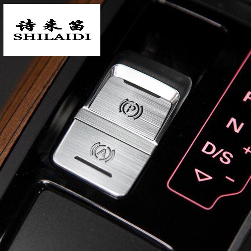 Araba Styling merkezi el freni A P düğmeler dekoratif panel çıkartmalar kapakları Trim için Audi a6 c7 A4 B9 iç oto aksesuarları