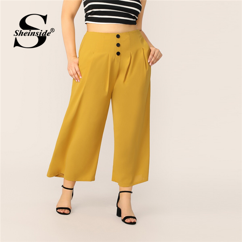 Sheinside Plus Button Front Fold Pleated   Wide     Leg     Pants   Women 2019 Summer Elegant Trousers Ladies Casual Yellow Loose   Pants