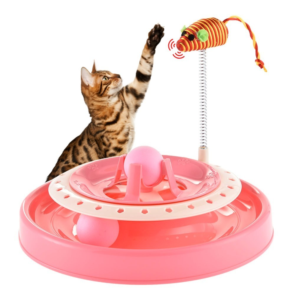 New Arrive Lovely Cat Boring Smashing Machine Cat Toy Spring Mouse Cat Teasing Turnplate Pet Training Toy