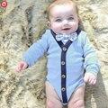 2016 Summer Infant Bodysuit Roupas de Bebê Menino Cavalheiro Manga Corpo Inteiro Macacão Com Gravata Moda Importado Roupa Do Bebê