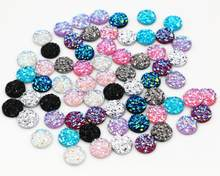 Baru Fashion 40 PCS 8 Mm Warna Campuran Batu Alam Bentuk Seri Datar Kembali Resin Cabochons Cameo(China)