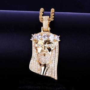 Image 4 - Ледяная религиозная подвеска «Иисус», кулон на голову, ожерелье с бесплатной веревочной цепочкой золотого цвета с блестящим кубическим цирконием, мужские ювелирные изделия в стиле хип хоп для подарка