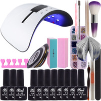 Manicure Nail Kit Set Gel Varnish Set 8 Color UV Gel Polish 36W LED Lamp Gel Varnish Nail Polish Set UV Machine