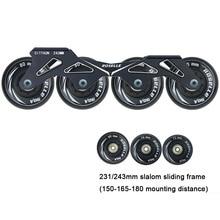 231 243mm Frame & 4 * 80 76 72 mm 90A Wheels Bearings for Inline Slalom Sliding Skating Skates Base Adult Kids XX3