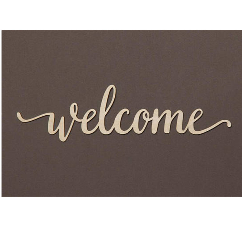 10pcs Laser Cut Unfinished Wood Welcome Script Word Sign Wooden Words Sign Art Rustic Cursive Word Room Decoration Wall Hanging