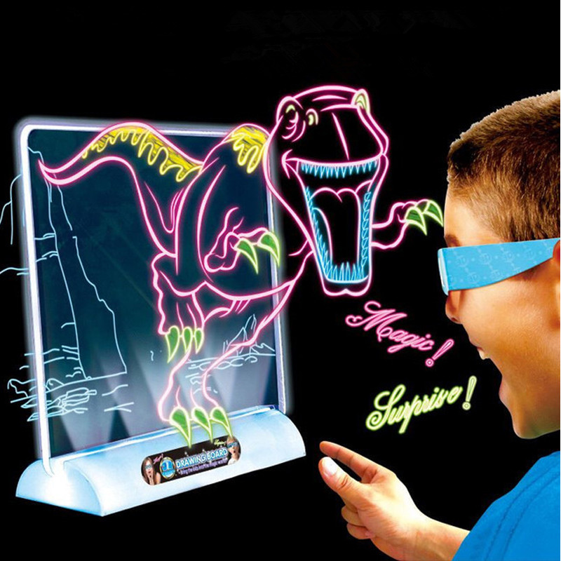 3D Drawing Board Toys Light Up Colorful Pen Painting ...