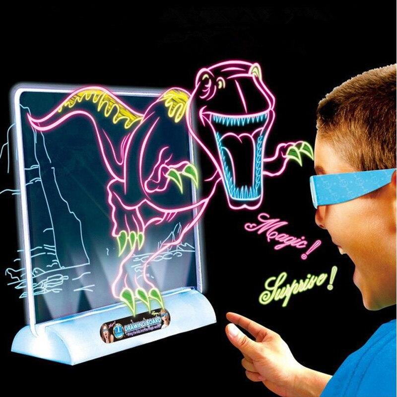 3d Tekentafel Toys Light Up Kleurrijke Pen Schilderen Tablet Uitwisbare Doodle Schets Schilderen Glow In The Dark Kids Tekening Speelgoed