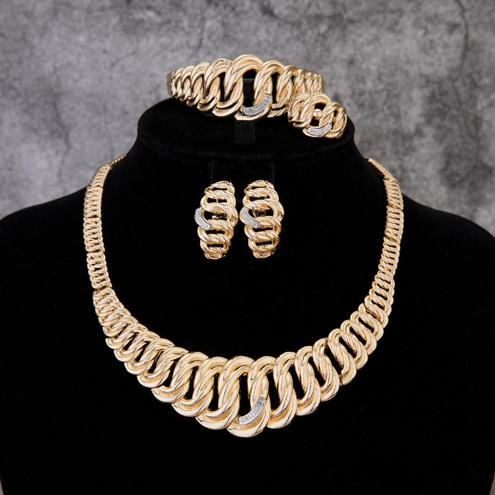 2020 MayBridal Gift Nigerian Wedding African Beads Jewelry Set Brand Woman Fashion Dubai Gold Color Jewelry Set Wholesale Design