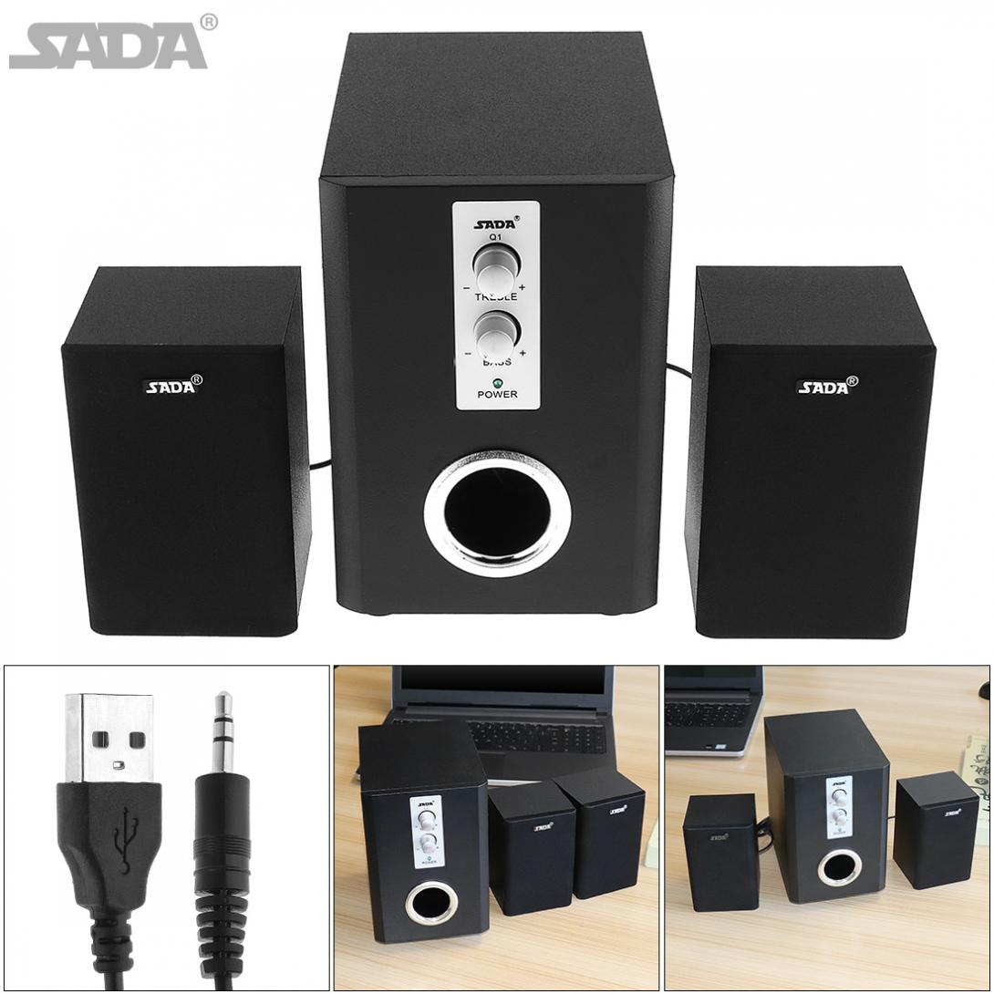 SADA Q1 Wireless Bluetooth 2 1 3 Canale Combination Wooden Subwoofer Speaker Column Computer Speaker with