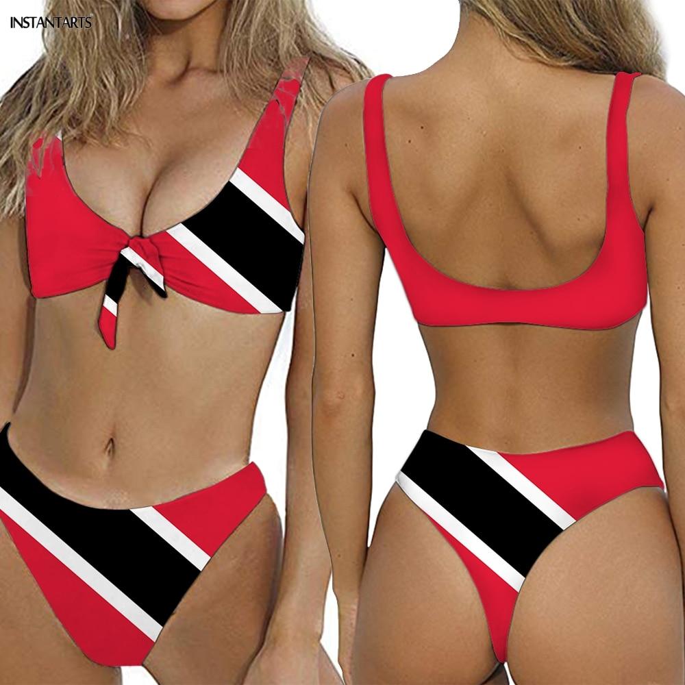 INSTANTARTS Caribbean Trinidad And Tobago Flag Print Bow Tie Woman Swimsuits Backless Lady Bikini Set Summer Bathing Beachwear