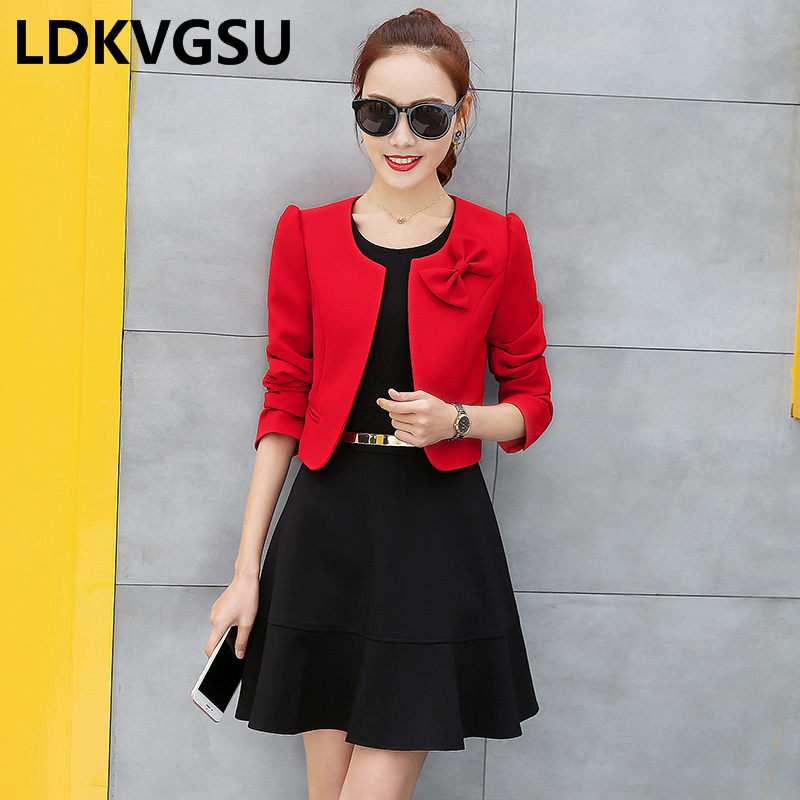 Spring Autumn Small Suit Female 2019 New Thin Temperament Slim Outside Cardigan Ultra Short Long-Sleeved Blazers Is1673
